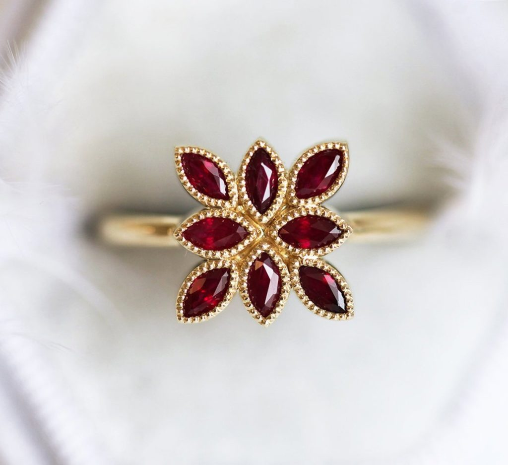 Marquise Natural Ruby Ring by Cappucine on Etsy
