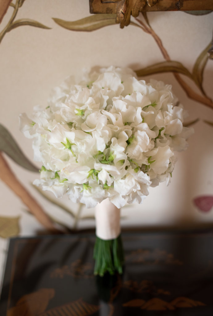 A bouquet of white Irish sweet pea flowers held together at the stem by a thick white ribbon