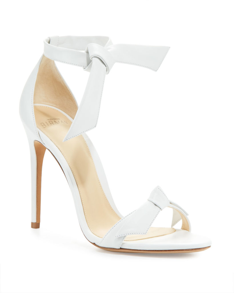 Alexandre Birman Clarita white Leather stiletto Sandals with knot bows at the ankle and toe. They retail for €495