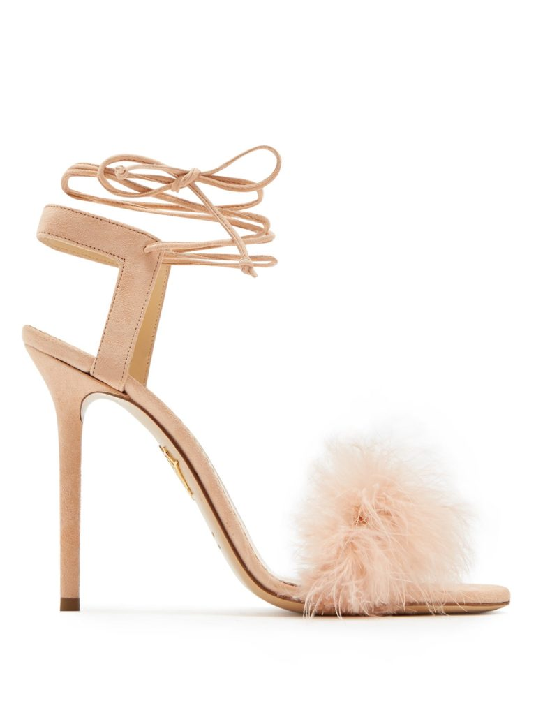Charlotte Olympia nude pink Salsa ostrich feather embellished suede stiletto sandals. Retail for €565