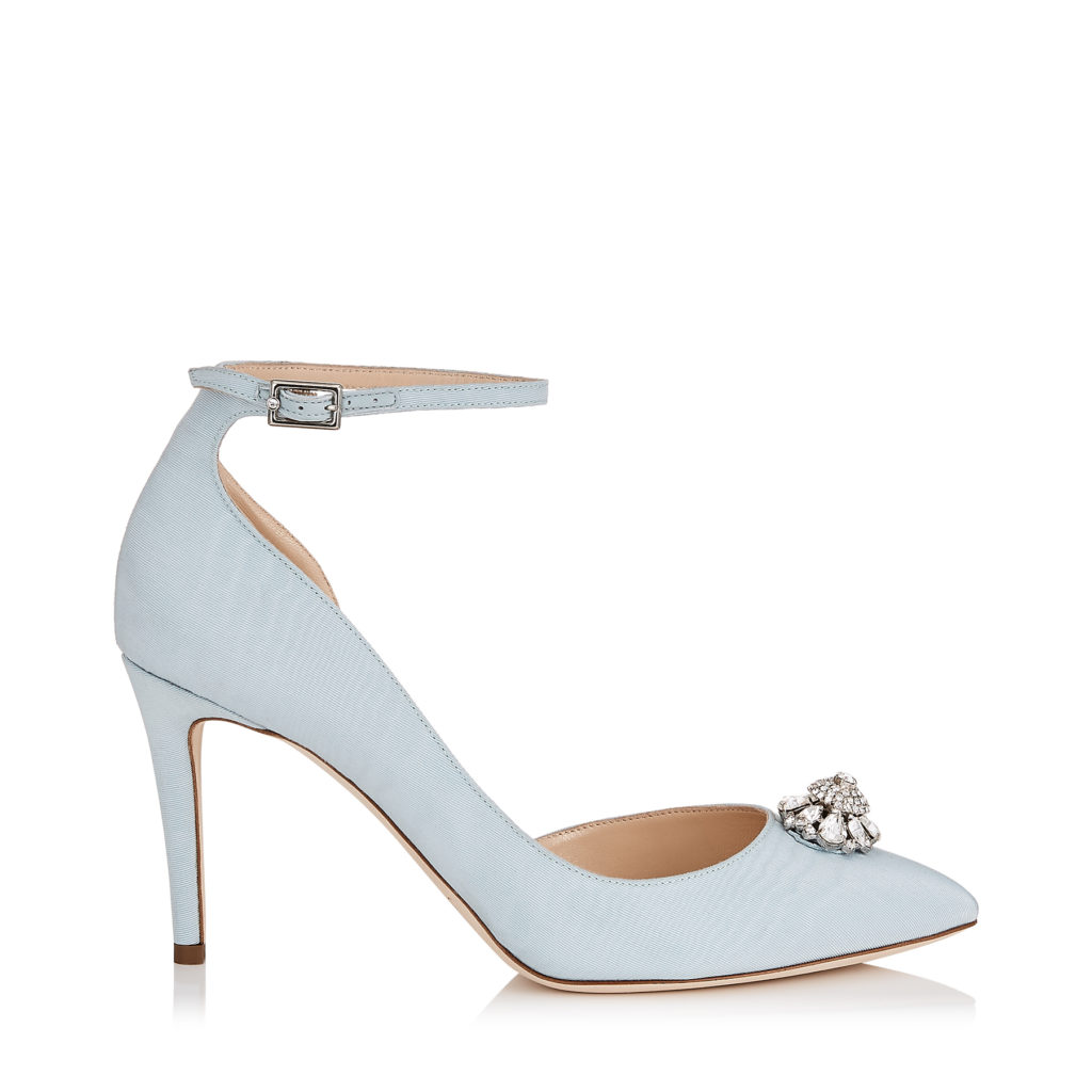 Jimmy Choo Lucy pumps in Something Blue with silver brooch detail on the toe and ankle strap. Retails for €725