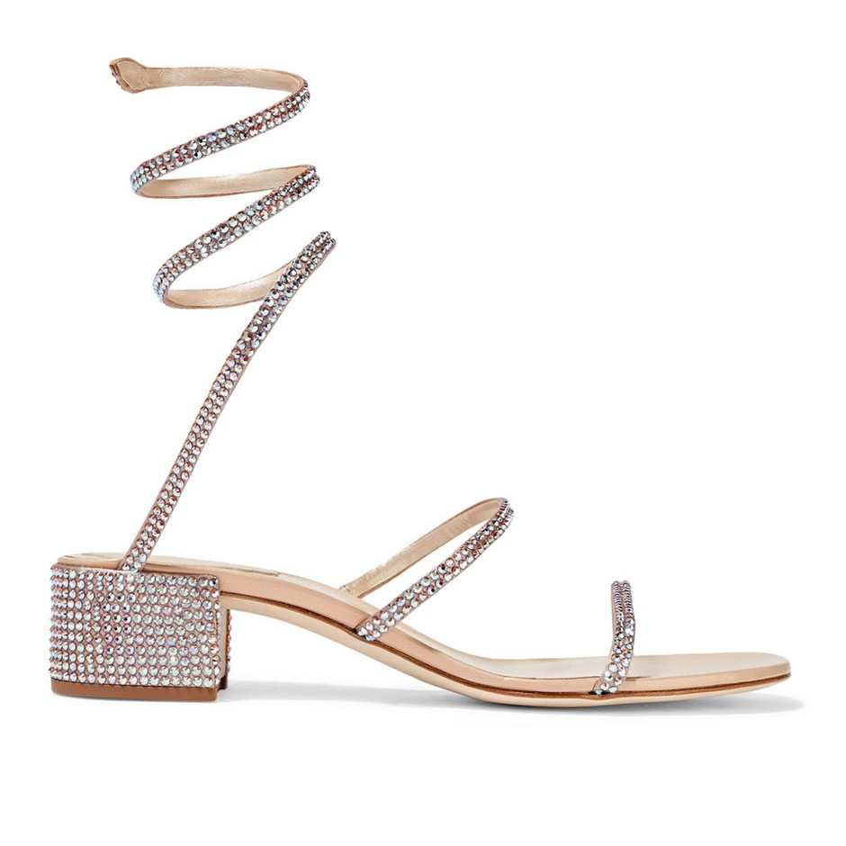 Rene Caovilla Cleo silver crystal-embellished satin sandals with snake detail wrapping up ankle. Retails for €1,055