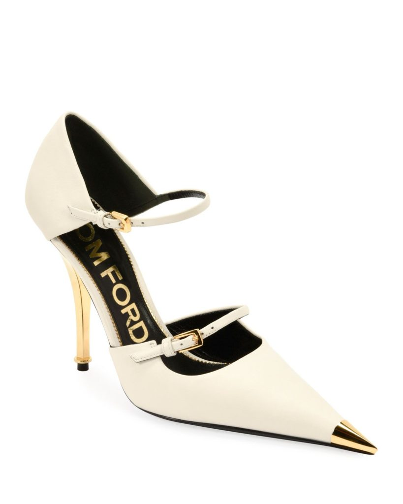 White Tom Ford Two-Strap Mary Jane Pumps with Pointed gold Metal Toe and gold metal heel. Retails for €1412